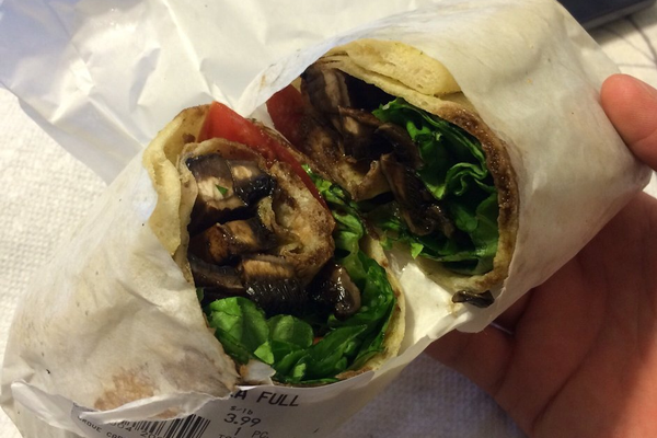 Portabella Mushroom Wrap - Grilled portobella mushroom, lettuce, tomato & balsamic syrup rolled in a house-made flatbread. Photo courtesy of Michael C. on Yelp.