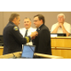 Engineer Mike Bullock had his badge presented to him by his father, retired assistant police chief Ron Bullock, during the swearing-in ceremony at the Sandy City Council Chambers on June 28, 2016. (Photo: Chris Larson, Sandy City Journal)