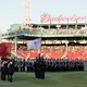 On the playing field at Fenway Park