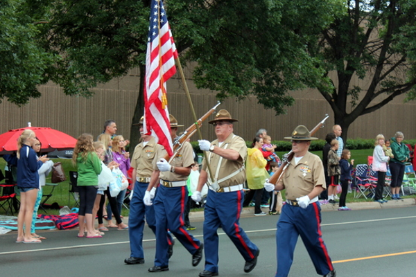 Metro Marines Honor/Color Guard at the 2016 Maple Grove Days Pierre Bottineau Parade along 89th Avenue Thursday, July 14