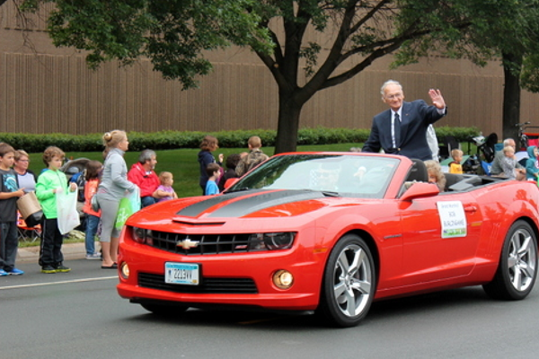 Grand Marshall Bob Burlingame at the 2016 Maple Grove Days Pierre Bottineau Parade along 89th Avenue Thursday, July 14