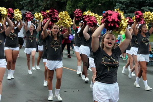 Maple Grove Cheerleaders at the 2016 Maple Grove Days Pierre Bottineau Parade along 89th Avenue Thursday, July 14