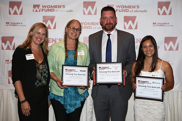 1. Focus Grants recipients Jenny Anderson and Renee Evans (Only Kindness, Inc.), Sean McCarthy (Boys and Girls Club of El Dorado County) and Sarah Singh (3 Strands Global)