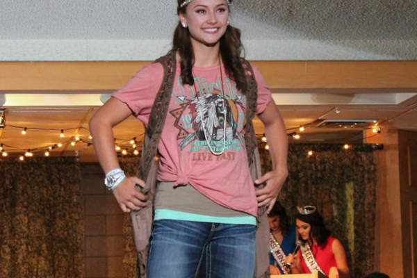 Alyssa J. models clothes from the Buckle during the annual Back-to-School Fashion Preview Aug. 17, 2016 at the Maple Grove Community Center. (Photo by Wendy Erlien)