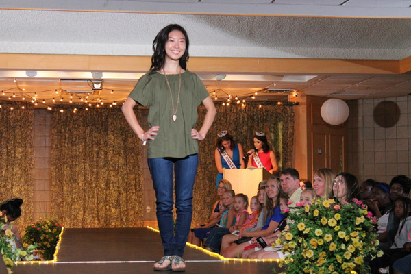 Rachel L. models clothes from Apricot Lane during the annual Back-to-School Fashion Preview Aug. 17, 2016 at the Maple Grove Community Center. (Photo by Wendy Erlien)