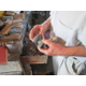 Bailey makes his own grinding stones for getting just the right details in his work.