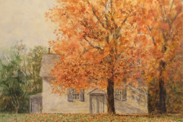 A watercolor of the Kennett Meetinghouse.
