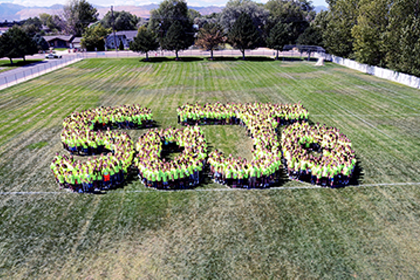 "South Jordan Middle School students celebrate the pride in their newly remodeled school by wearing school T-shirts with the school logo, ""See the Light"" which ties into the school's new lights and windows. (Julie Slama/My City Journals)"