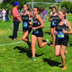 Ardyn Ford (center), senior captain, leads a pack of Highland High runners during the Murray Invite at Murray Park on Sept. 9. (Travis Barton/City Journals)