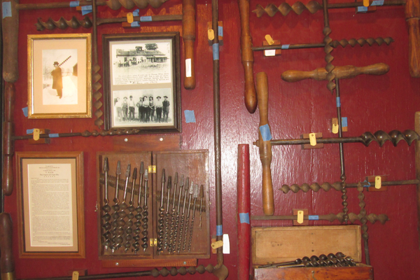 A display of drills made at the Slack Auger Works in Oxford.