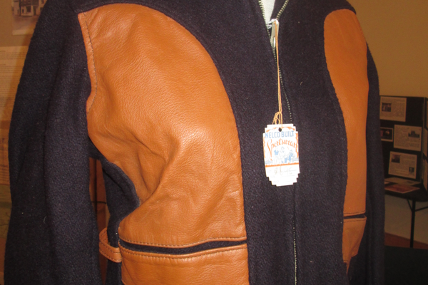 An unworn jacket once sold at Simon's Men's and Boy's Outfitter.