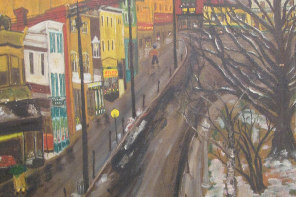 This folk art painting by Louise Bauman shows Market Street in Oxford.