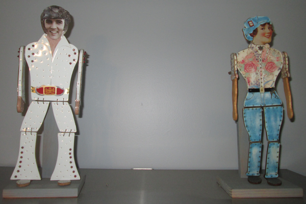 Eyet created these two tin-can figures, Elvis and Rosie the Riveter, for a landmark book called 'The Art of the Tin Can.'