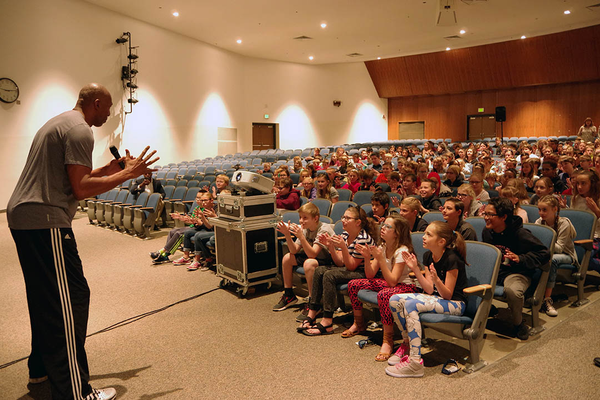 As part of an anti-bullying assembly, Eastmont sixth-grade students listened to former NBA Utah Jazzman Thurl Bailey when he told them he was bullied when he was their age. (Julie Slama/City Journals)