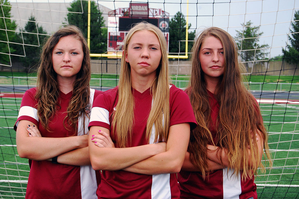 Jordan senior soccer players Brooke Brunson, Alli Pickering and Sierra Paul. (Marli Martin/Jordan Soccer)