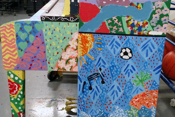 The piano was painted in folk art style. (Deborah Hansen/Fox Hollow Elementary)