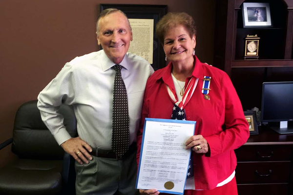 Carol Howard poses for a photo with Mayor Ted Eyre after he signed a proclamation recognizing and supporting Constitution Week in Murray. (Carol Howard)