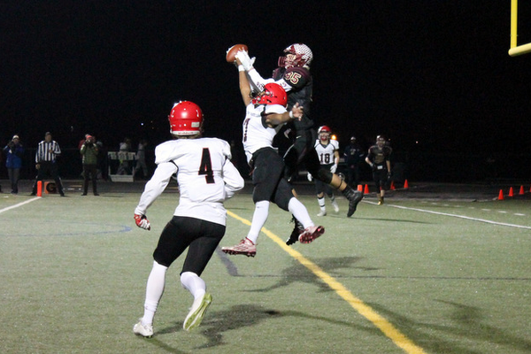 Crimson receiver Teddy Raasch couldn't come down with the pass against the Eagles.