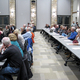 Residents listen to a description of the current efforts for improving Wasatch Boulevard. (Mike Johnson/CHED)