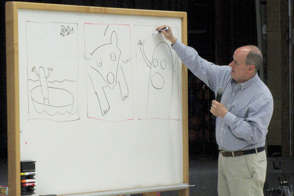 Illustrator Mark Beuhner asked Jordan Ridge Elementary students for possible story characters, then created illustrations based on their ideas. — Julie Slama