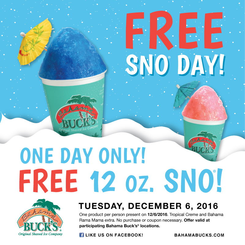 Bahama bucks free sno day 2016 1