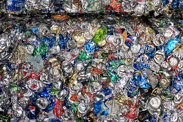 Compressed aluminum cans at Waste Management, which recycled 628 tons in West Valley City in July. (Waste Management)