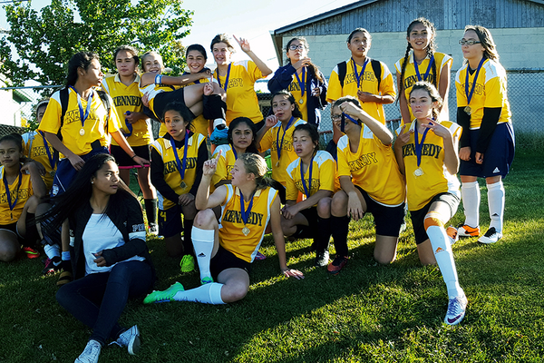 The girls soccer team at Kennedy Junior High School stole the finals victory from Kearns 4-0. (Sarah Harding/Kennedy soccer)