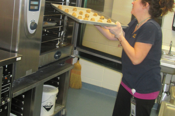 Freshly scooped cookies were baked in the cafeteria at Hillendale.