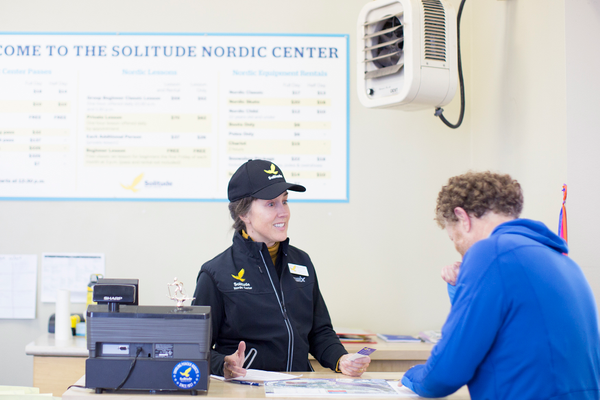 Christine Hirrill assists a customer at the Solitude Nordic Center/ Quirky Shutter Photography