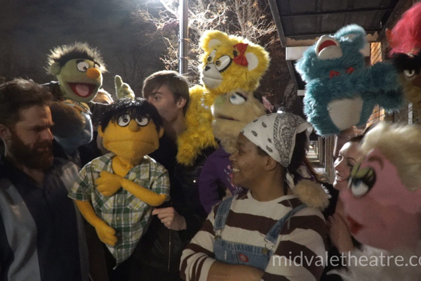 "Characters from ""Avenue Q"" congregate outside the Midvale Main Street Theatre. The puppets are actual replicas of the ones used in the original Broadway show. (Midvale Main Street Theatre)"