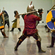 The Medieval Knights class practicing their sword fighting. (Viridian Center)