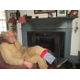 James Matsen in the parlor of the home, which has its original 1800s fireplace.