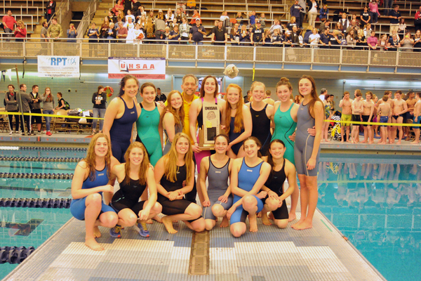 Skyline High School girls swim team won their sixth consecutive state championship on Feb. 11. (George Karahalios/GP Photography)