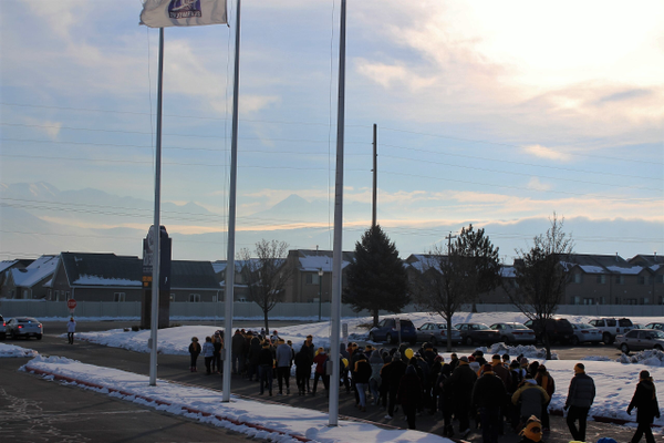 Riverton High School students and community members take a group walk on Jan. 28 to pay respect to those who committed suicide, demonstrate awareness of suicide and encourage suicide prevention. (McKara Warr/Riverton Hope Squad)