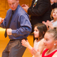 Fathers and their daughters do the chicken dance at Riverton City's Valentine's themed father and daughter dance. (Kevin Willett/Riverton City)