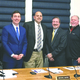 Pictured L-R are Selectman Dan Spencer State Senator Ryan  Fattman Selectman Mike Soter State Rep Kevin Kuros  Selectman Don Martinis and Town Administrator Denis Fraine