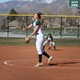 Sophomore Emma Marchant unleashes a pitch against Payson. Marchant also hit a two-run home run in the 6-5 victory. (Travis Barton/City Journals)