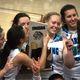 Anna Ewoniuk kisses the 3A state championship trophy. (Juan Diego girls basketball)
