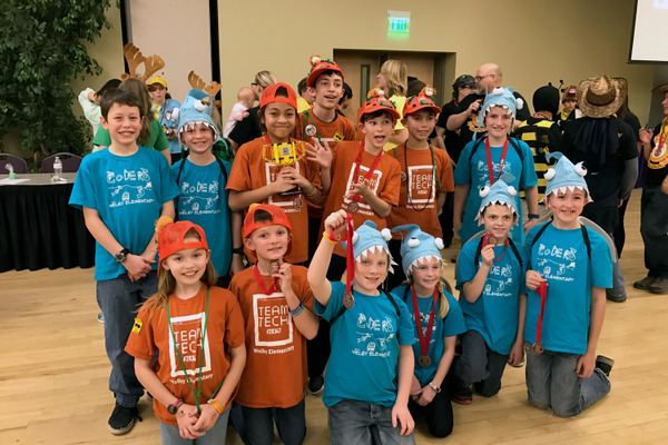 Newcomers to First Lego League Robotics, Team Tech and The Coders, representing Welby Elementary, competed at the state First Lego League robotics tournament after both teams woninning the presentation awards at region. (Haley McCall/Welby Elementary)