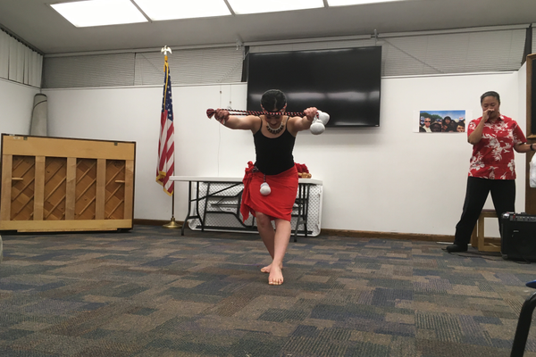 Dancer Tauhere Alvarez bows after performing her solo dance at the Tyler Library. (Travis Barton/City Journals)
