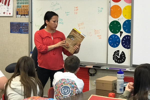 Sarah Roundy with the American Heart Association taught Pulley's class about the importance of taking care of their hearts. (Teacher/Amber Pulley).