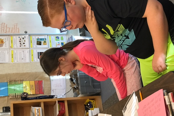 Two of Pulley's students learn to check their pulse. (Teacher/Amber Pulley).