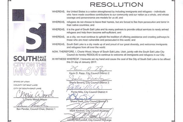 The resolution states refugees and immigrants are welcome in South Salt Lake. (South Salt Lake)