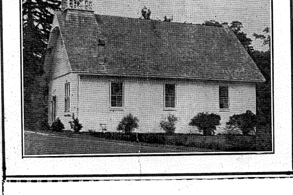 A picture of the 'old church.' An electrical fire destroyed it in 1953, but it was rebuilt the following year. (Photo courtesy of Alma Rigler)