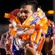 Sione Lund celebrates with several leis around his neck after the team''s senior night. (Richelle Hadley Lund/Facebook)