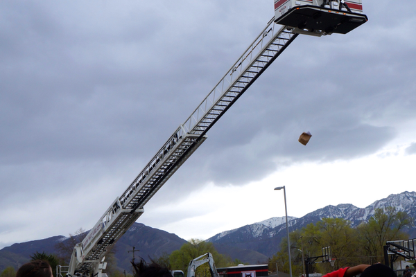 The final test for the egg drop was which eggs survived being dropped from the top of thethe fire truck's aerial ladder. (Aspen Perry/City Journals)