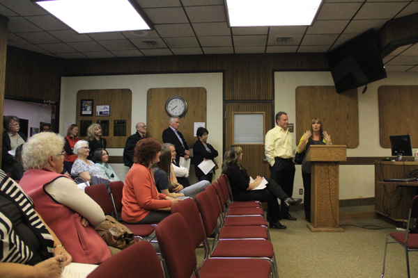 Community members address the Murray City Council at the April 4 meeting in regards to the city's involvement in development of the Canal Trail along the Jordan and Salt Lake Canal. (Mandy Ditto/City Journals)
