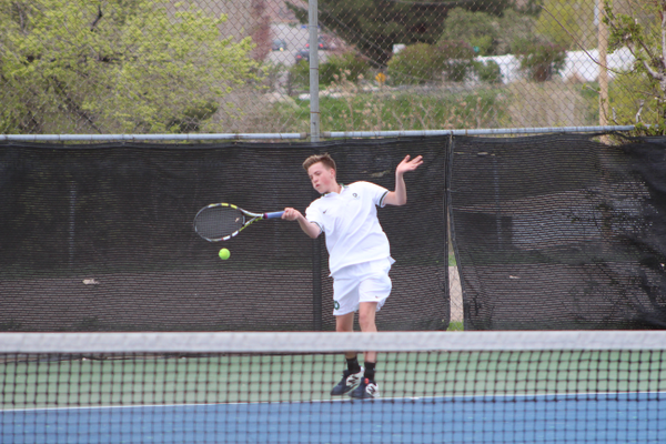 No. 2 singles player Cole Marshall returns a shot against Skyline. (Travis Barton/City Journals)