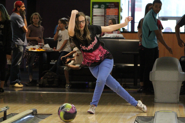 Emily Pelzer, a Hillcrest High freshman, bowls at Fat Cats in April. Pelzer had major lung reconstruction in January and will be heading to nationals in July. (Travis Barton/City Journals)
