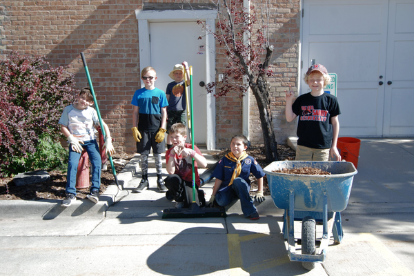 Members of Pack 3935 — Cash Lewis, Jace Birmingham, Caden Kilcrease, Sean Gandry, Declan Kilcrease and Ryker Legerski — show off their gardening skills at the Sandy Museum for Sandy Pride Day. (Keyra Kristoffersen/City Journals)